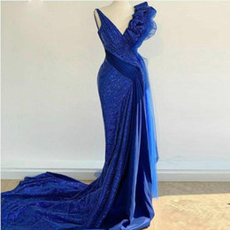 pictures pleated jackets Canada - Royal Blue Mermaid Prom Dresses Long Deep V neck vestido Ruffles Pleats Sequined Mermaid Evening Gowns Dubai Arabic Cocktail Party Dress
