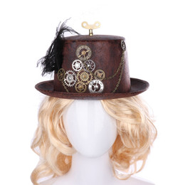 $enCountryForm.capitalKeyWord Australia - Fashion Carnival Party Retro Steam Punk Hats Cosplay Bowler Gear Chain Feather Party Caps Decor Brown Steampunk Round Top Hats
