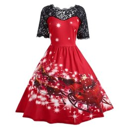 33c2bf64c 1PCS Christmas Themed Sexy See-through Lace Piecing Slim Waist Flare Dress  Female Santa Claus Multi Color Options Plus Size 3XL