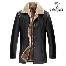 Mens Faux Fur Lining Jacket NZ - Winter Fur Leather Jacket Mens Plus Size 5XL Suede Leather Jackets Men Faux Fur Thick Warm Long Suede Jacket