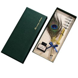 $enCountryForm.capitalKeyWord NZ - English Calligraphy Feather Dip Quill Pen Writing Ink Set Stationery Gift Box with 5 Nibs