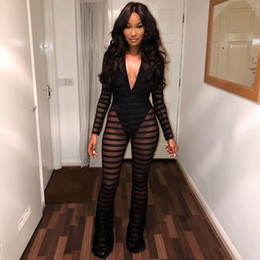 Club Wear Jumpsuits Australia - V Neck Lace Length Jumpsuit Black Striped Mesh Bodycon Jumpsuits Women Sexy Club Wear Transparent Rompers Long Sleeves Overalls