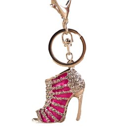 China shoe keychain cute Crystal High Heeled Rhinestone Key chains Purse Pendant Bags Cars Shoe Ring Holder Chains Key Rings For Gifts handbags suppliers