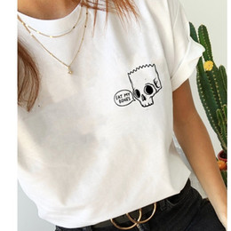 skull graphic tees UK - Eat Bones Skull Coll Pocket T-Shirt Stylish Graphic Ladies Funny Slogan Tee Grunge Hipster Aesthetic Skull Vintage Tops
