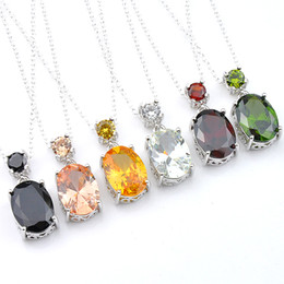 mixed color gems necklace UK - Luckyshien 10 Pcs Mix Color Brand New For Women Oval Peridot Morganite Garnet obsidian Gems Silver Necklaces Jewelry CZ Pendants