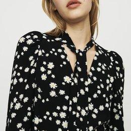 Ribbon Print Australia - 2019 Spring Summer Floral Print Long Sleeves V Neck Ribbon Tie Blouse Women Shirt Fashion M3118