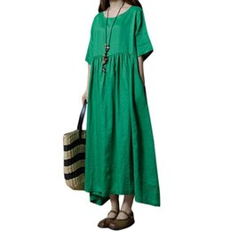 7251b97ee7 Casual Women Cotton Linen Dress Solid Half Sleeve Pocket Loose Vintage  Summer Dress 2019 Boho Maxi Long Dress Green Dark Blue