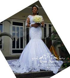 $enCountryForm.capitalKeyWord Australia - Sexy Vintage Lace Mermaid Bellanaija Wedding Dresses 2019 Long Sleeves Plus Size Beaded Sequined Nigerian Arabic Country Beach Bridal Gowns