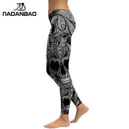 75279a7242fc7a NADANBAO 2019 New Design Leggings Women Skull Head Digital Print Rose Fitness  Leggins Plus Size Elastic Workout Pants