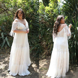 chiffon boho length wedding dress Australia - 2020 Boho Plus Size Wedding Dresses Lace Chiffon Plunging V Neck Short Sleeves Off the Shoulder Floor Length Beach Wedding Bridal Gown