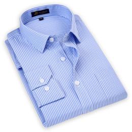 Smart Clothing NZ - Long Sleeved Men's Striped Dress Shirts Fashion New Business Formal Top Clothing Regular Fit High Quality Man Smart Casual Shirt