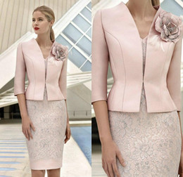 wedding guest dresses jackets NZ - Elegant Pink Mother Of The Bride Dresses With Jacket Lace Appliqued Beads Wedding Guest Dress Knee Length Flower Formal Mother Outfit Prom