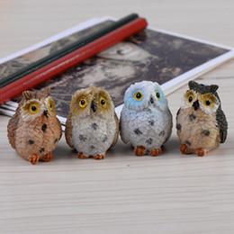 Fiber Pots Australia - 4pcs Artificial Resin Owls Miniatures Figurine Cute Animal Craft Bonsai Pots Home Fairy Garden Ornament Decor Moss Terrarium C19041601