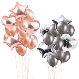 decorative stars for parties Canada - New Star Balloons Gold Black Silver Metal Aluminum Helium Foil and Latex Balloon for Happy Birthday Wedding Party Decoration Event Supplier