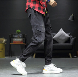 mens long cargo pants NZ - Mens Designer Knee Pocket Jeans Fashion Drawstring Hiphop Cargo Pants Casual Mens Plus Size Denim Pants