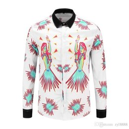 Discount luxury microfiber - 2018HUY European luxury brand long-sleeved shirt Medusa color floral print cotton shirt men's casual business shirt