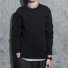 Korea Brand Clothes Australia - Men Spring And Autumn Fashion Brand Korea Style Vintage Simple Solid Color O-neck Cotton Knitted Sweaters Male Casual Clothes