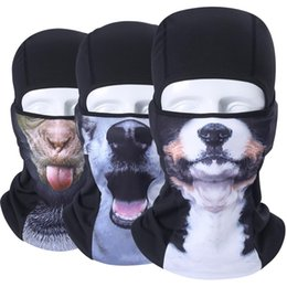 Discount dog bicycle - 3D Animal Windproof Balaclava Halloween Bicycle Helmet Liner Hats Winter Neck Warmer Snowboard Cat Dog Husky Full Face M