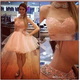 Black short puffy homecoming dress online shopping - Hot Sale Short Puffy Tulle Homecoming Dresses with Beaded High Collar Sleeveless Graduation Party Gowns Cheap Dress for Bride