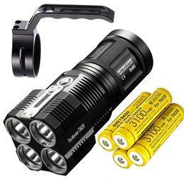 flashlight lumen Australia - High Lumen NITECORE TM28 LED Flashlight 4 *CREE XHP35 HI 6000LM beam distance 655M + 4* 18650 3100mAh batteries + NHM10 Holder