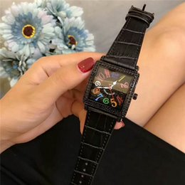 square bezel NZ - High quality New Master Square 6000 H SC DT NR COL DRM R D Black Women Diamond dial bezel Men designer Luxury watches Leather strap
