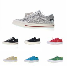 149d154764ff 2018 New Chiara Ferragni x One Star Eyes 74 OX Pinstripe Casual Canvas Shoes  Women Men Silver Chaussures Fashion Designer Sneakers Size35-44