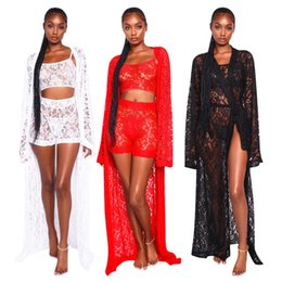 $enCountryForm.capitalKeyWord Australia - Sexy Women Lace Nightclub Three Pieces Outfits Fashion Long Sleeves Long Cardigan Short Top and Shorts Party Suits S--2XL New Arrivals