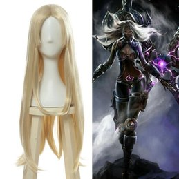 length games NZ - Games LOL irelia Cosplay Wig Long Straight Blond Woman Party Hair Halloween Wig