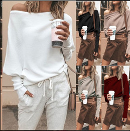 Wholesale long black sweater plus size resale online - Plus Size Women Off Shoulder Loose Pullover Sweater Long Sleeve Knit Sweater Jumper Top Ladies Casual Fall Tops