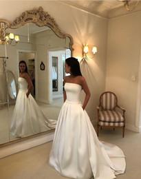$enCountryForm.capitalKeyWord Australia - Modern Simple Princess Sweep Train Sash Bow Strapless Custom White Satin A Line Wedding Dress with Pockets New Bridal Gowns Detachable Skirt