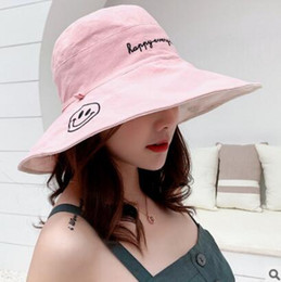 $enCountryForm.capitalKeyWord Australia - Elegant Fold Cotton Breathable Sun Hat for Women Uv Protection Cap Ladies Outdoor Spring Sunmer Letter Wide Brim Beach Hat