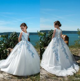 8f62c2a83c5 2019 Cute Flower Girl Dresses For Weddings Lace Appliqued Ball Gown Little  Girls Pageant Dress Custom Made First Holy Communion Dresses
