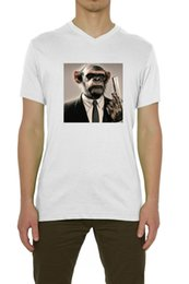 Red Monkey T Shirts Australia - Monkey In A Suit Holding A Gun Art Men's T-Shirt V-Neck White (S-XXL) mens pride dark t-shirt white black grey red trousers tshirt