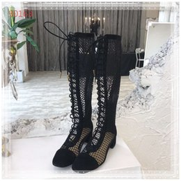 Black Cutters Australia - women's summer boot luxury knee-length boot square toe mesh shoes low cutter casual shoes party footwear