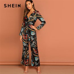 Long Jumpsuits Xs Australia - SHEIN Multicolor Waist Knot Chain Print V-Neck Jumpsuit Going Out Elegant Office Lady Long Sleeve 2018 Autumn Women Jumpsuits