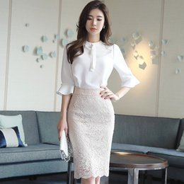 Wholesale white lace skirt blouse for sale - Group buy Autumn Half Flare Sleeve Casual Chiffon White Blouse Shirt Bodycon Midi Lace Skirt Two Pieces Work Dress