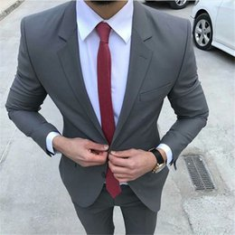 Dark Green Tie Grey Suit Australia - 2019 New Arrival Grey Slim Fit Men Suit Tuxedos Masculino 2Pieces(Jacket+Pants+Tie) Best Man Suit Latest Style Male Clothing
