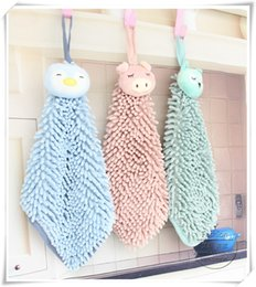 handkerchief for children Australia - Animal Absorbent Hand Towel cute Cartoon Handkerchief chenille Microfiber Soft Kitcken Wash Towel with Rope Hanging for kids
