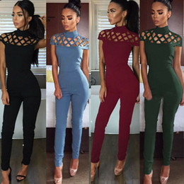 $enCountryForm.capitalKeyWord Australia - Women Solid O Neck Cross Bandage Hole Jumpsuit Romper Casual Short Sleeve Playsuit Clubwear Trousers Outfit