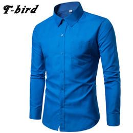 Slim Fit Black T Shirts Australia - T-Bird Brand 2017 Men Shirt 17colors Solid Black Dress Shirt Long Sleeve Slim Fit Camisa Masculina Casual Male Hawaiian Shirts