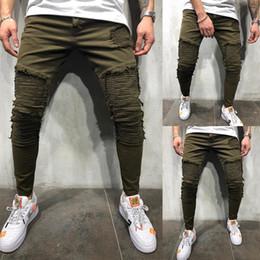 Male jeans korean new online shopping - OLOME Men Vintage Hole Jeans Autumn New Green Slim Fit Denim Jeans Male Korean Fashion Stretch Stripe Bottoms Plus Size