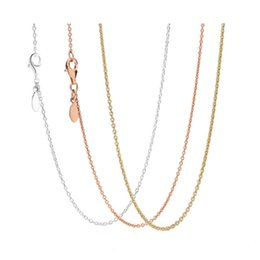 pandora anchor Canada - New Rose & Gold Color & Silver Shine Anchor Chain Necklace For Women Wedding Gift Pandora Jewelry 925 Sterling Silver Necklace