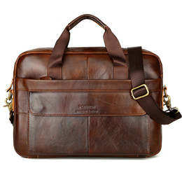 Leather Bag For Inches Australia - Classic Men Handbag Business Briefcase Bag for Man Laptop 14 Inches Large Bags Handbags Briefcases Genuine Leather Man Bag Solid