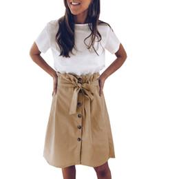 $enCountryForm.capitalKeyWord UK - 2019 New Spring Summer Elegant Midi Skirts Womens Office A-Line Skirt Cotton Elastic Waist Package Hip Skirt Bow Khaki