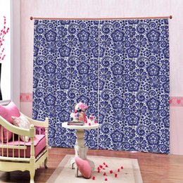 WindoWs european online shopping - Classic European Pattern Blue Room Curtains For Living Room Bedroom Outdoor Indoor Floral Kids Blackout Drapes