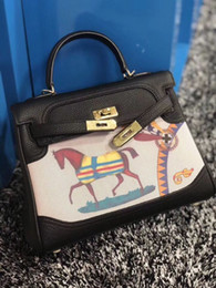Black white paintings landscapes online shopping - Latest Women Leather totes cm wide small bags with cuckle Horse Colored painting exquisite plating hardware soft real leather