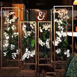 Wedding vase floWering online shopping - 2020 Gold white Flower Vase Floor Vases Column Stand Metal Road Lead Wedding Table Centerpiece Flower Rack Event Party Decoration