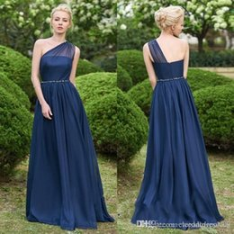 Black feathered Bridesmaid dresses online shopping - Gorgeous One Shoulder Navy Blue Bridesmaid Dresses Long Chiffon Prom Dress Online Maid Of Honor Dresses Evening Mother Wear