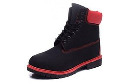 boots footwear sale NZ - Custom Men Timberand Boots 10061 6 Inch Hiking Footwear Mens Leather Waterproof Black With Red Shoes Outlet Free Quick Express On Sale