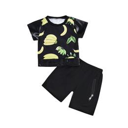 Chinese  boys clothes set Banana Printed Summer Infant Baby Boys Tops T-Shirt Zipper Shorts Set Outfits High Quality erkek bebek giyim manufacturers
